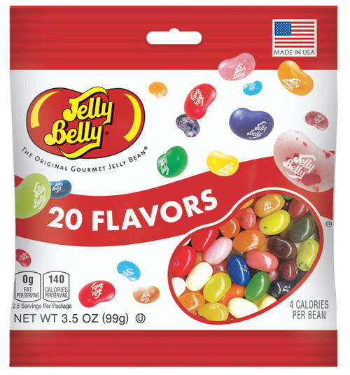 Jelly Belly Assorted jelly beans in a 3.5 oz bag. 20 assorted fruit flavors. Great candy for a party, gifts or giveaways.