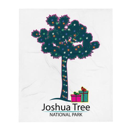 Joshua Tree Lit tree with Gifts Throw Blanket