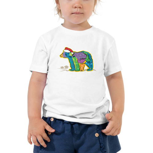 California Bear with Santa Hat Toddler Short Sleeve Tee, available in 2 colors