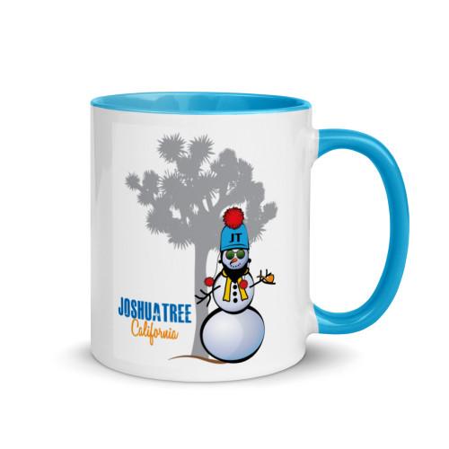 Joshua Tree Snowman Mug with Blue Handle and Inside