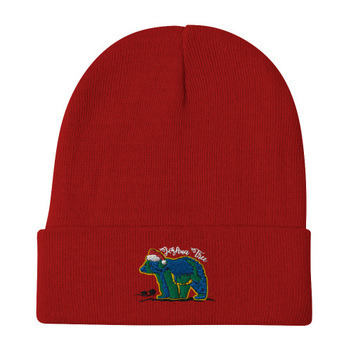 California Bear Embroidered Beanie, Red