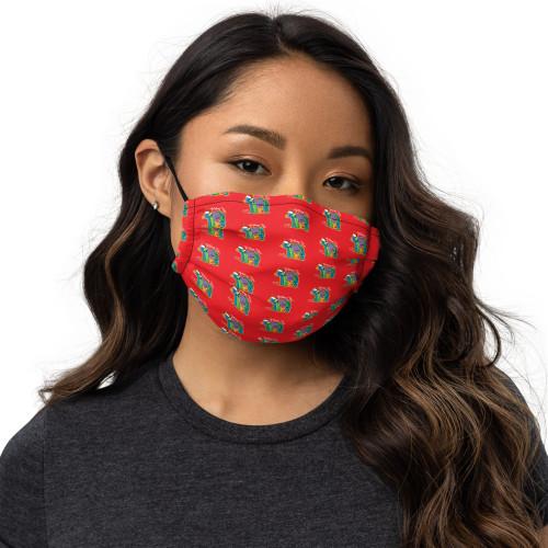 California Santa Bear Face Mask, red
