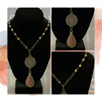 Bronze Medallion Necklace w/ Burnt Orange Teardrop