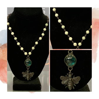 Bronze Bee Pearl Necklace w/ Turquoise Glass