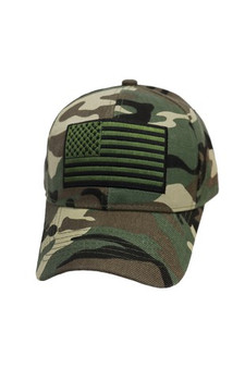 Camouflage Embroidered American Flag Cap