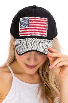 American Flag Sequin Bill Cap