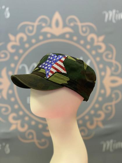 USA Flag Star Sequin Cap