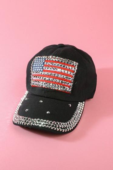 USA Flag Black Baseball