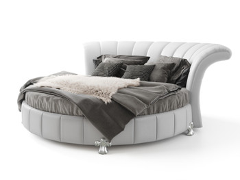 Venetian Round Bed in Faux White Leather