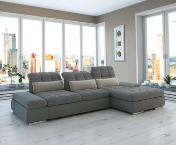 Barcelona 2pc  Grey Sectional with Left Arm Sofa bed and Chaise with Storage  By Sofacraft