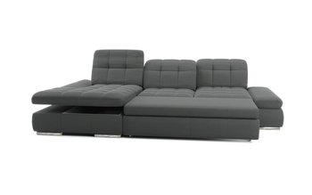 Barcelona 2pc Grey Sectional with Right  Arm Sofa bed and Chaise with   Storage  By Sofacraft