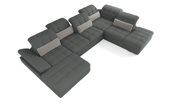 Barcelona 5 pc Left Arm Chaise  Grey Sectional with storage and  Sofa bed  By Sofacraft