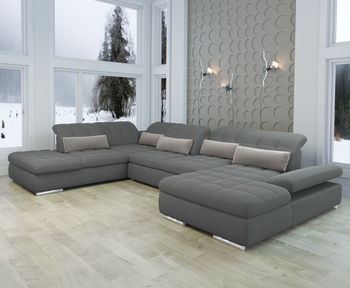 Barcelona 5 pc Right Arm Chaise  Grey Sectional with storage and  Sofa bed  By Sofacraft