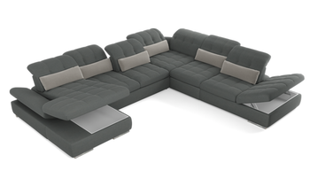 Barcelona 6 pc Left Arm Chaise  Grey Sectional with storage and  Sofa bed  By Sofacraft