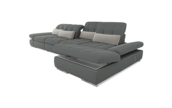 Barcelona 3pc Right Chaise  Grey Sectional with Sofabed and storage  By Sofacraft