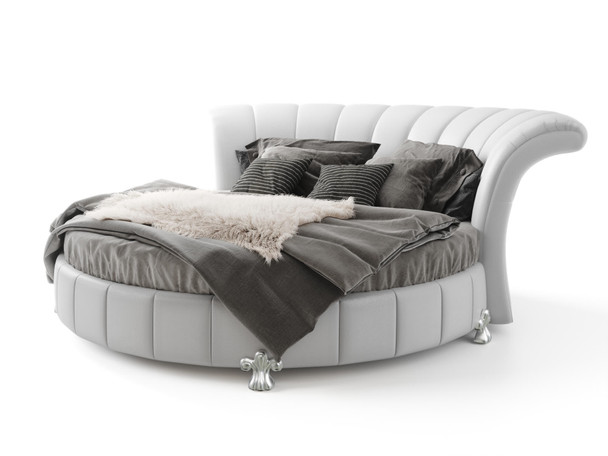 Venetian Round Bed in Faux White Leather Free Shipping