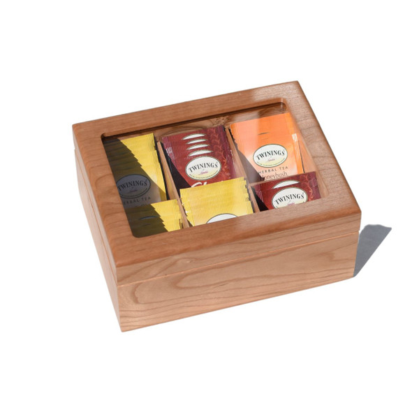 Top Closed View of Luxury Tea Chest - Hand Crafted Personalized Tea Box