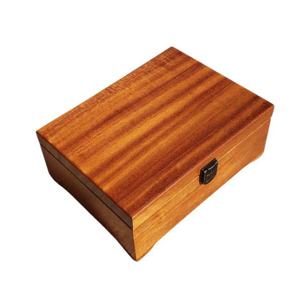 Angled view of Mahogany Keepsake Box Personalized Keepsake Box from High Point Gifts