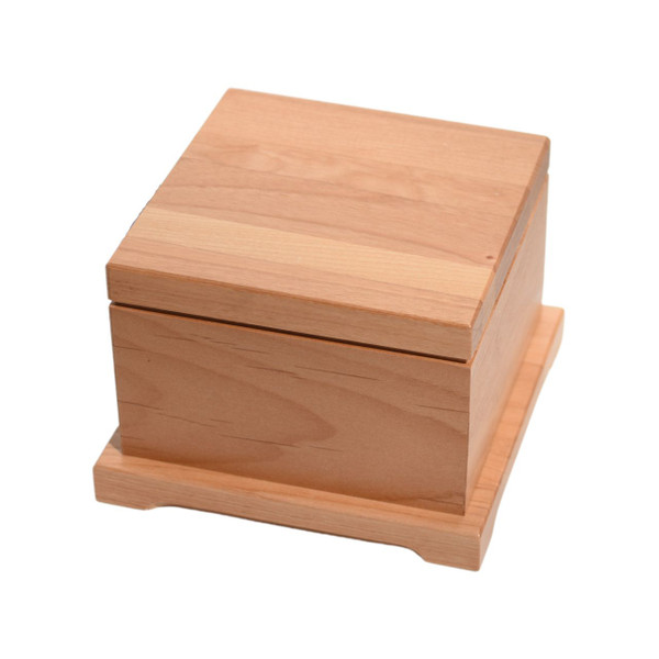Angle View of Pet Urn Medium in Alder from High Point Gifts