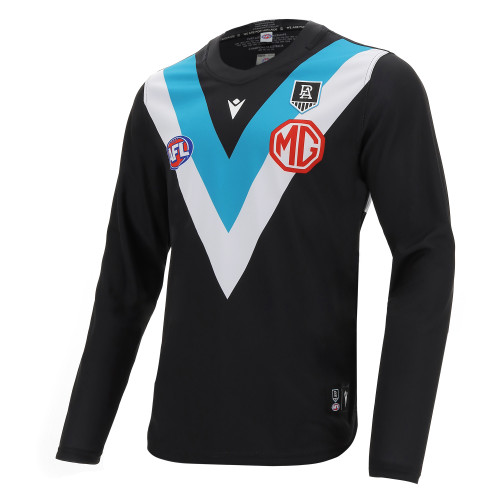 Official Port Adelaide Macron 2021 Youth Home Guernsey - Long Sleeve