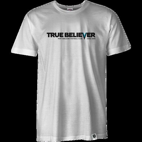 Port Adelaide Mens True Believer Tee - White