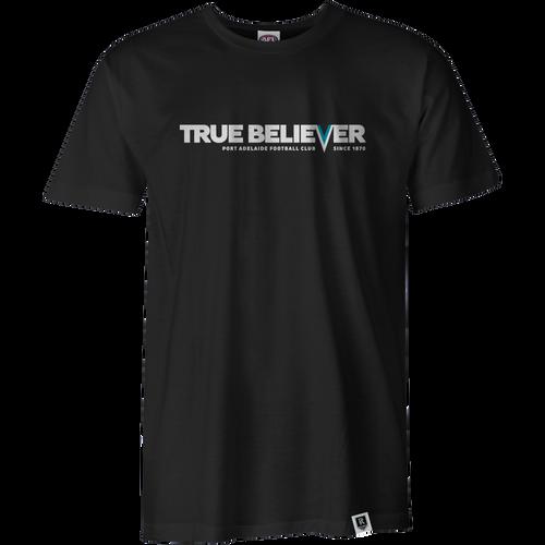 Port Adelaide Mens True Believer Tee - Black