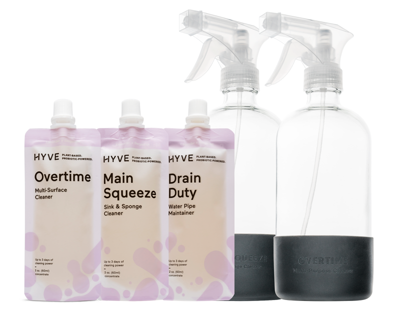Kit includes Plant-based natural cleaning products to clean hard surfaces with a multi-surface cleaner, sink and sponge cleaner, and drain cleaner. This kit includes two reusable glass bottles with silicone sleeve to protect bottles