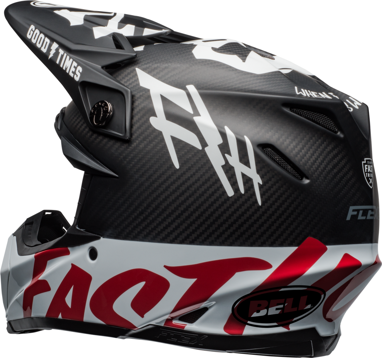 BELL MOTO-9 CARBON FLEX FASTHOUSE WRWF MATTE/GLOSS BLACK/WHITE/RED