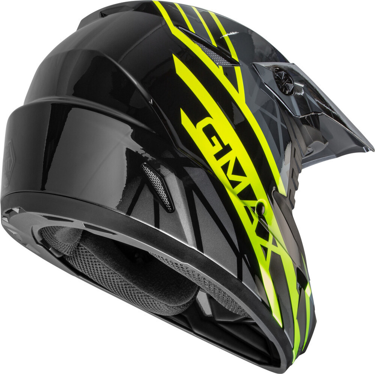 GMAX MX-46 Mega Off-Road Helmet Black/Hi-Vis/Grey