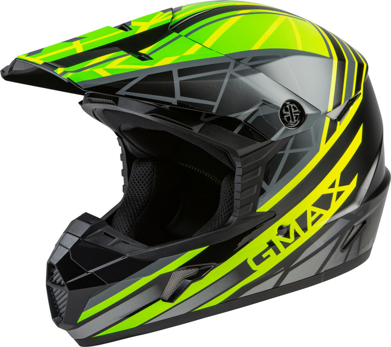GMAX MX-46Y Mega Off-Road Youth Helmet Black/Hi-Vis/Grey