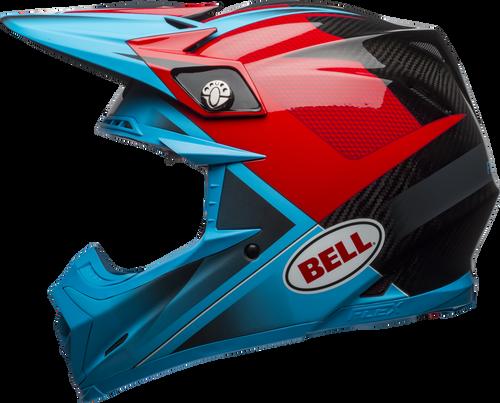 BELL MOTO-9 CARBON FLEX HOUND MATTE/GLOSS CYAN/RED