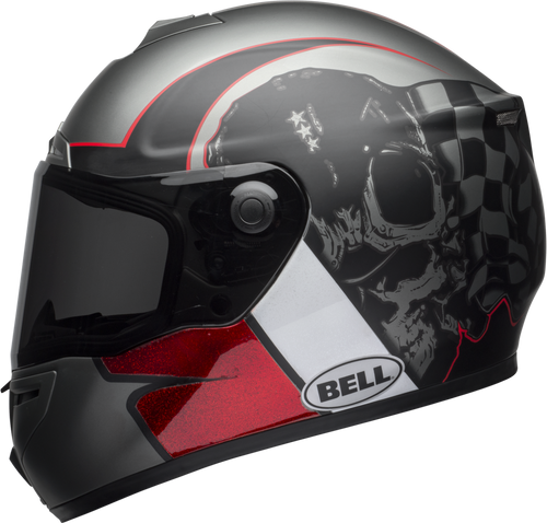 BELL SRT HART-LUCK GLOSS/MATTE CHARCOAL/WHITE/RED SKULL
