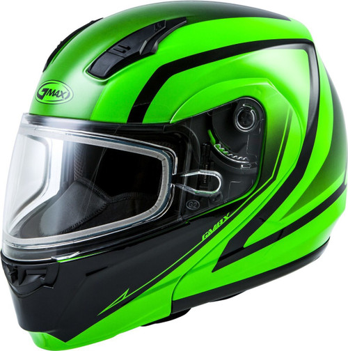 GMAX MD-04S Docket Snow Helmet Hi-Vis Green/Black
