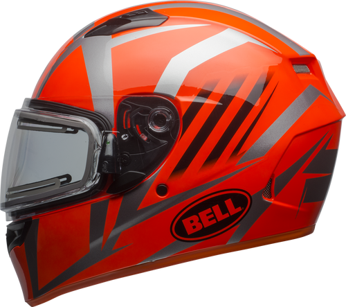 BELL QUALIFIER SNOW W/ELECTRIC SHIELD BLAZE GLOSS TITANIUM/ORANGE