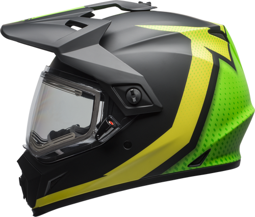 BELL MX-9 ADVENTURE SNOW W/ELECTRIC SHIELD SWITCHBACK MATTE BLACK/FLO GREEN