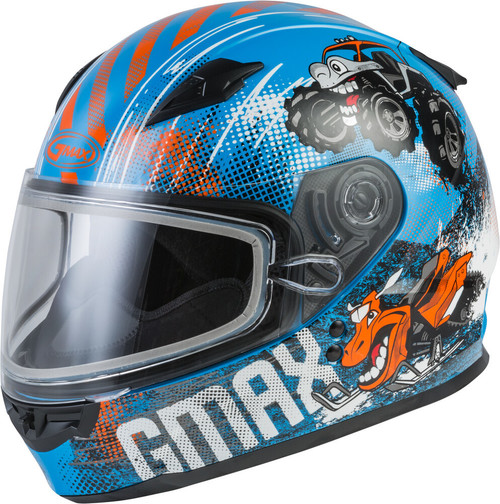 GMAX GM-49Y Beasts Snow Youth Helmet Blue/Orange/Grey