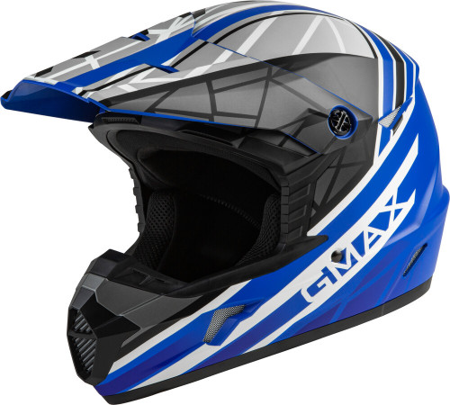 GMAX MX-46Y Mega Off-Road Youth Helmet Matte Blue/Black/White