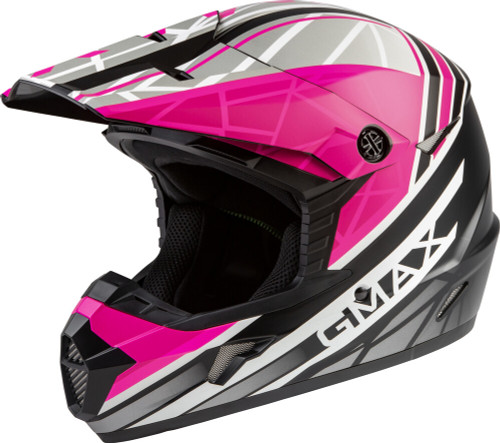 GMAX MX-46Y Mega Off-Road Youth Helmet Matte Black/Neon Pink