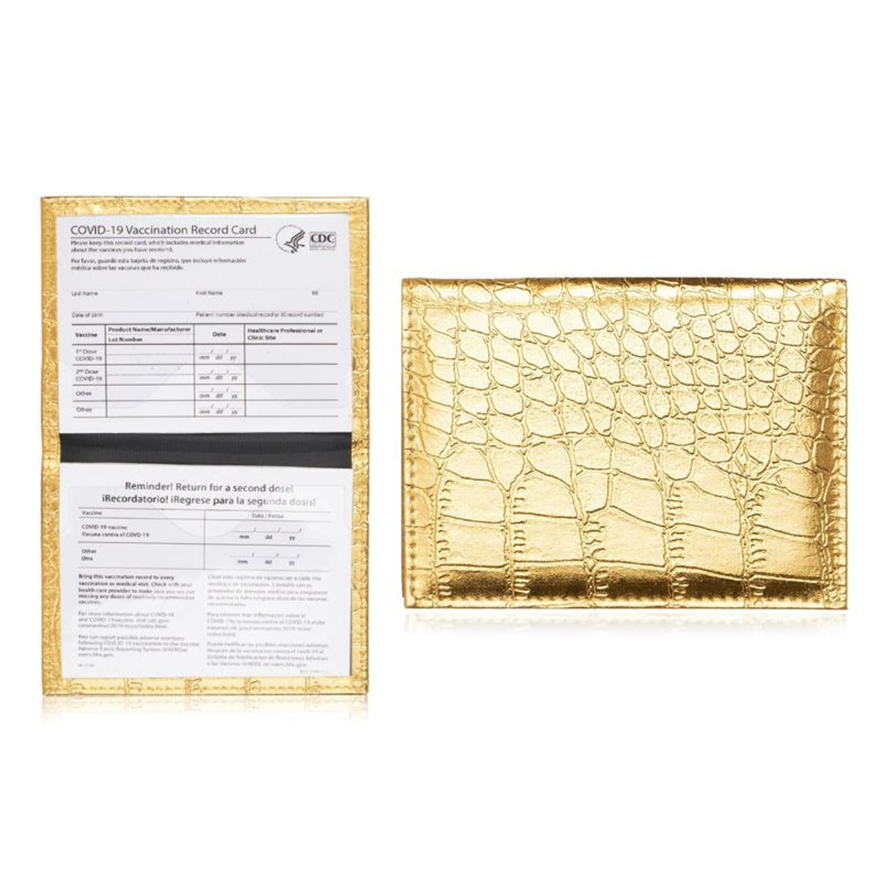 Bling Faux Leather CDC Vaccination Card Protector Holder - 2 Pack