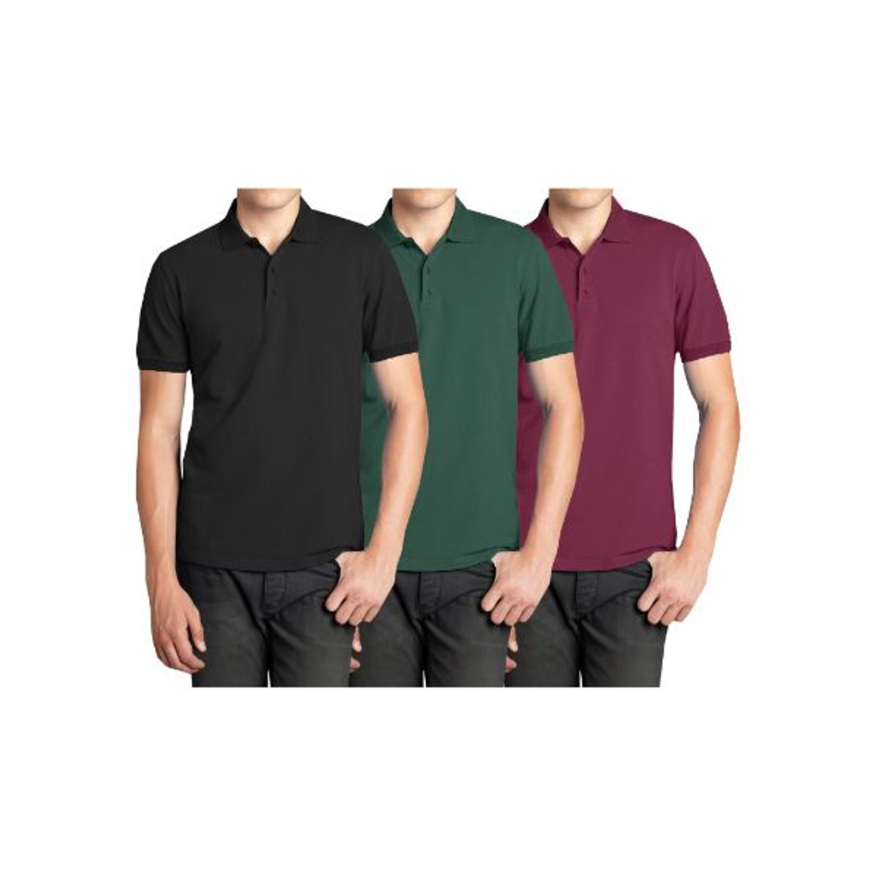 Men's Short Sleeve Polo Shirts - 3 Pack