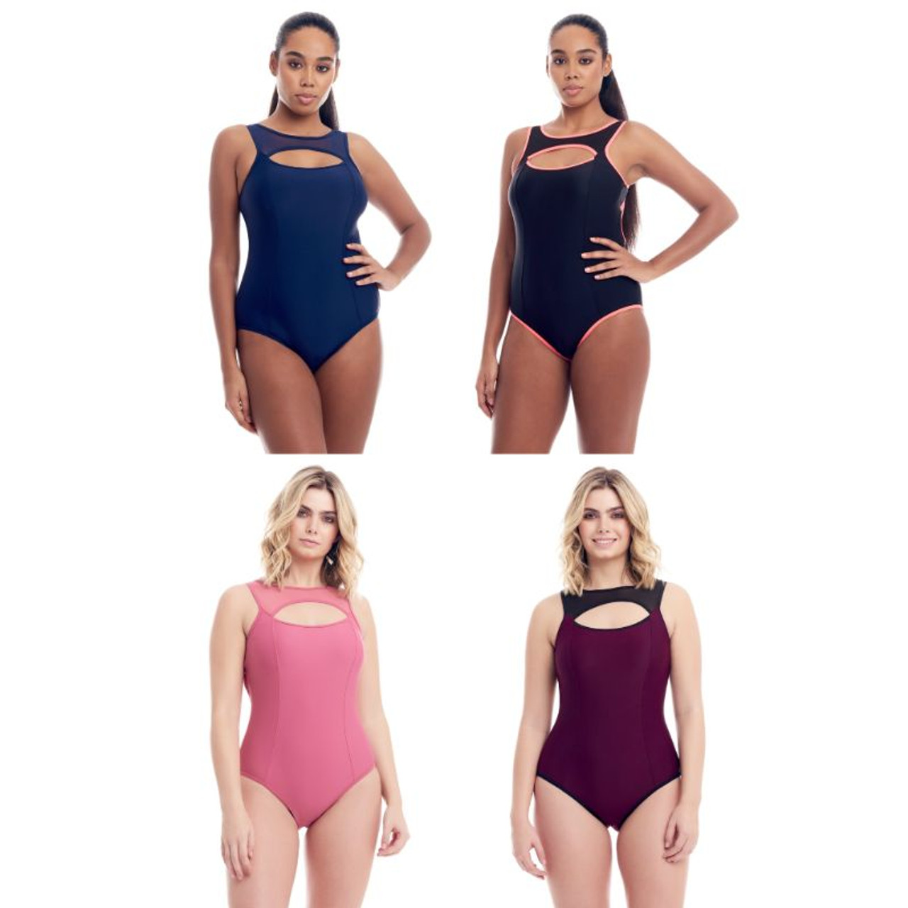 Cover Girl Women's Sporty Mesh One-Piece Swimsuit