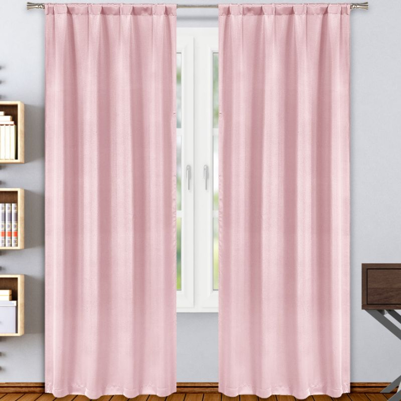 """Solid Blackout Window Curtain Panels for Poles, 38""""x84"""" - 2 Pack"""