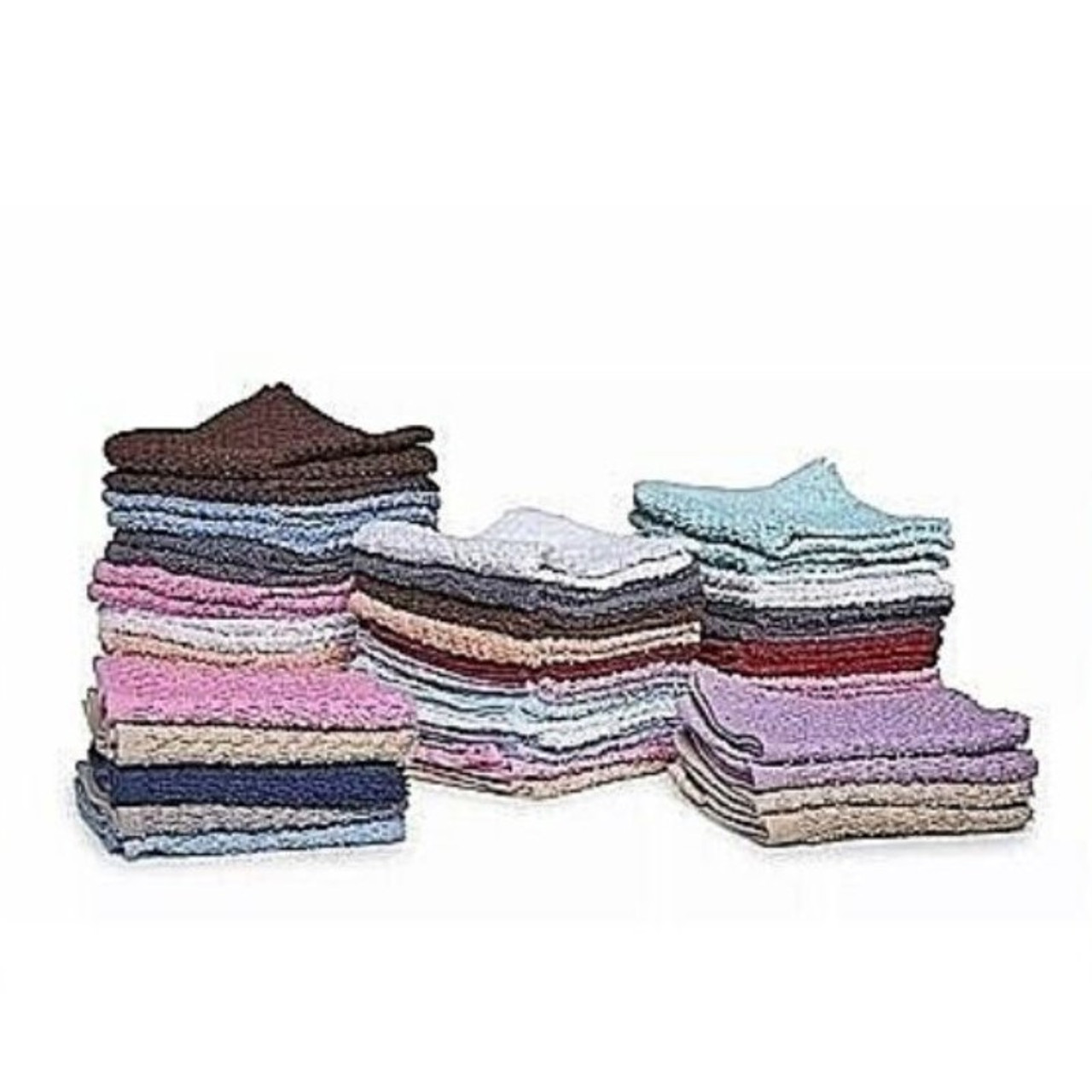 Absorbent 100% Cotton Face Wash Cloths - Assorted 12 or 24 Pack