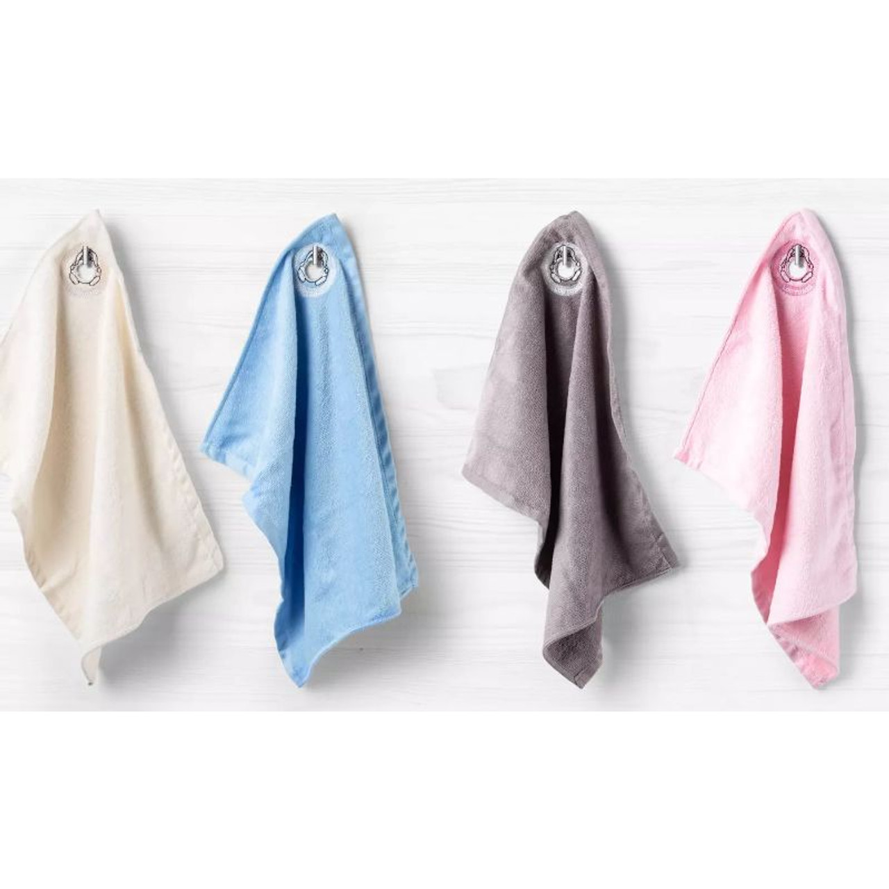 Soft and Absorbent Facial Washcloth Towels with Cut Out Loop for Hanging - 4 Pack