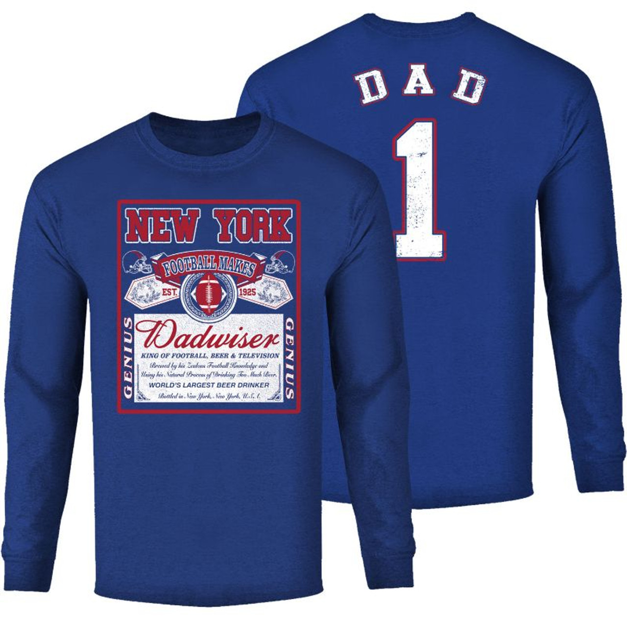 Men's Perfect Gift for Dad Dadwiser Football Long Sleeve Shirts
