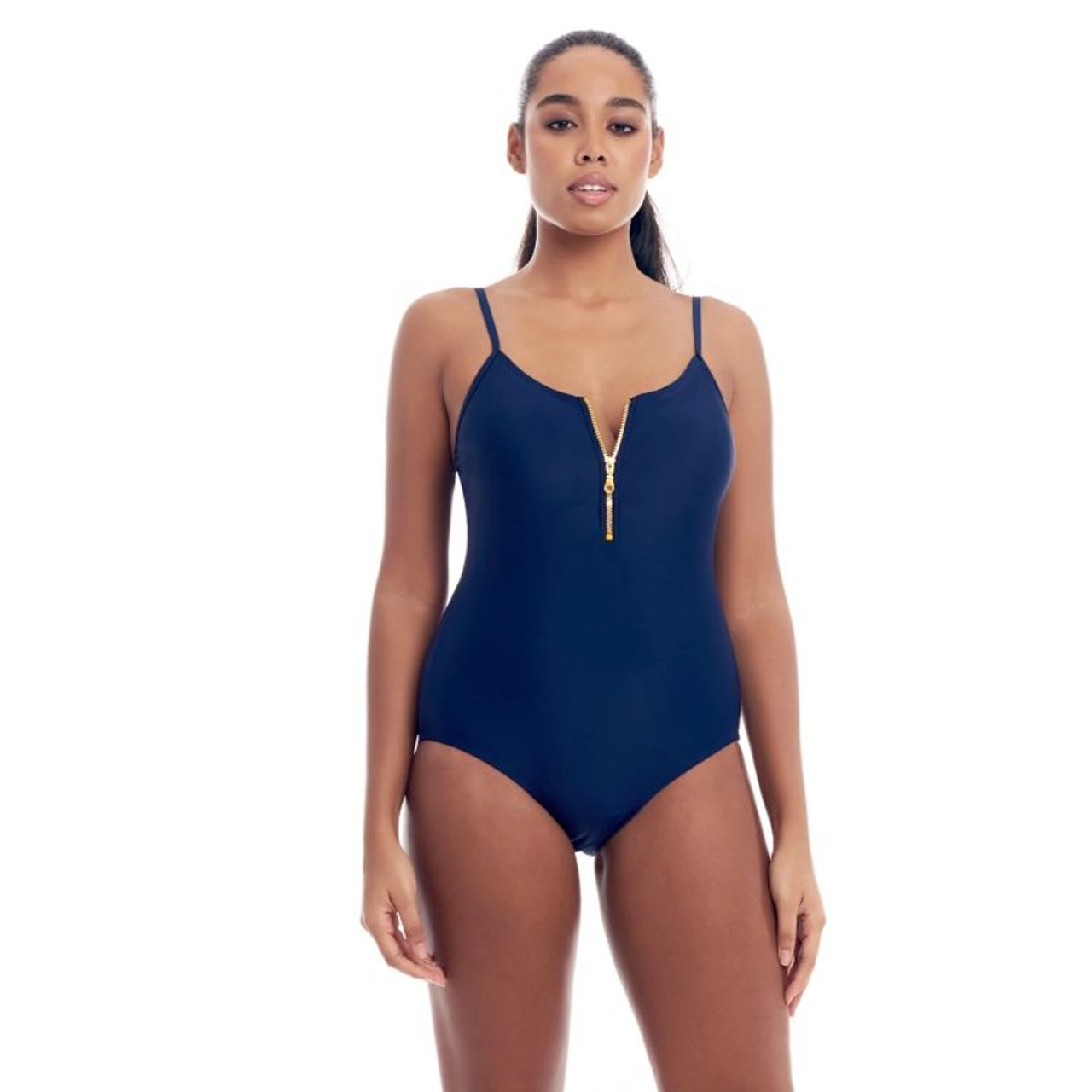 Cover Girl Women's One-Piece Swimsuit with Zip Up Front