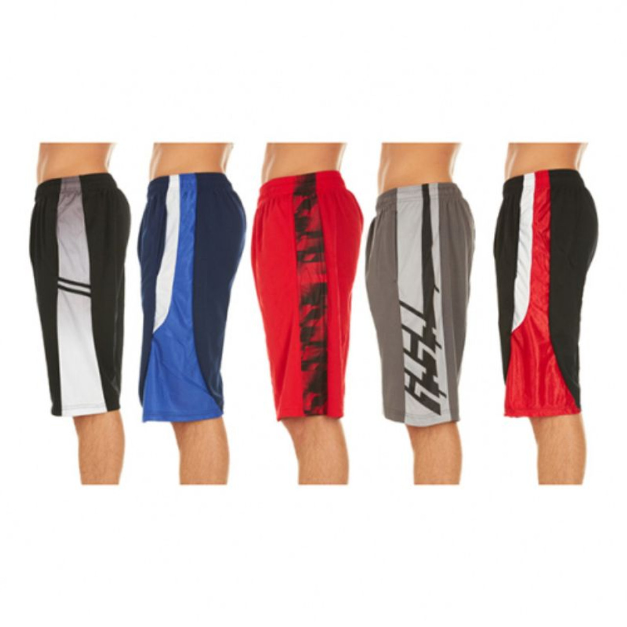 Assorted Men's Active Athletic Performance Shorts - 5 Pack
