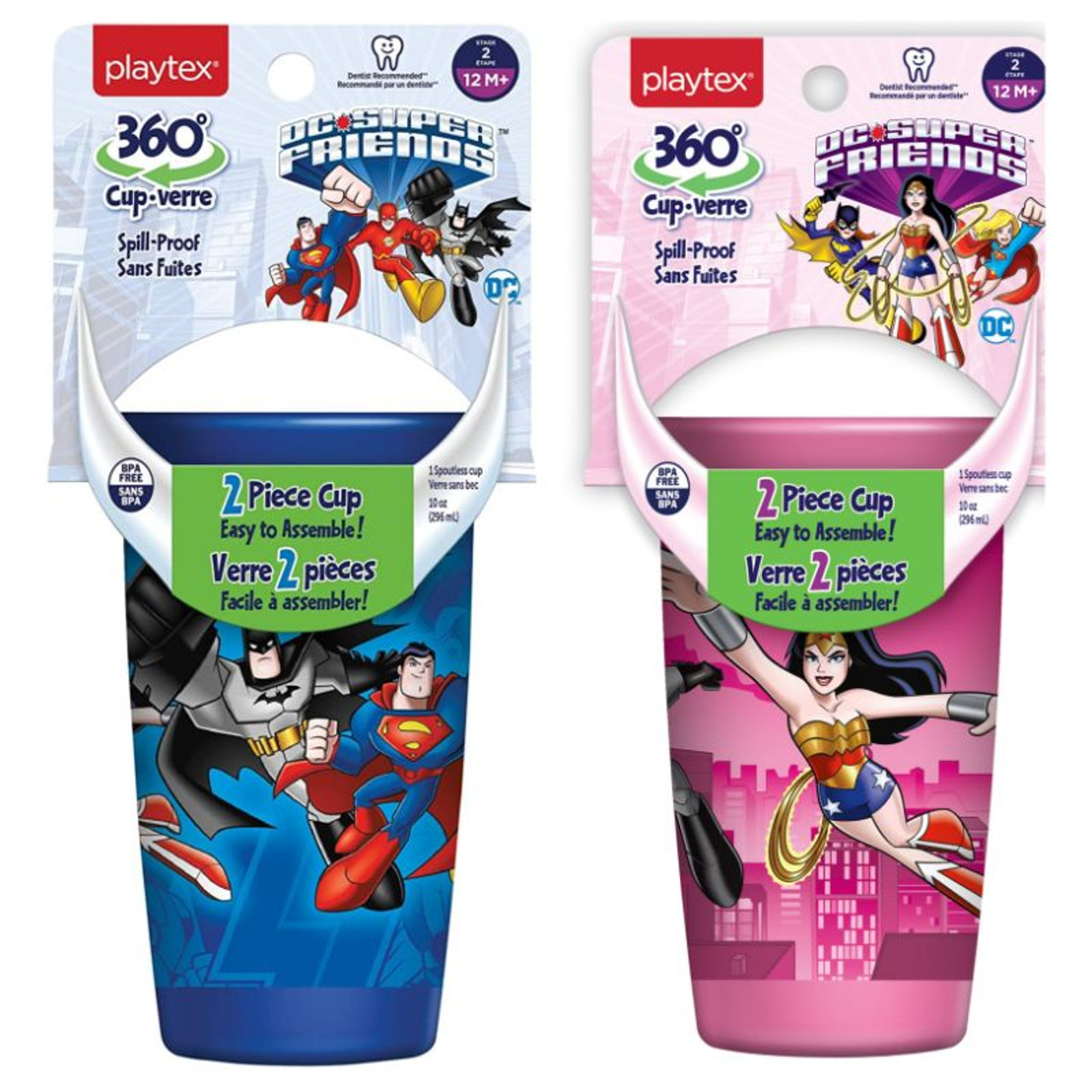 Playtex 360 degree Spoutless Cup, Stage 2, 12M+, 10 oz - 2 Pack