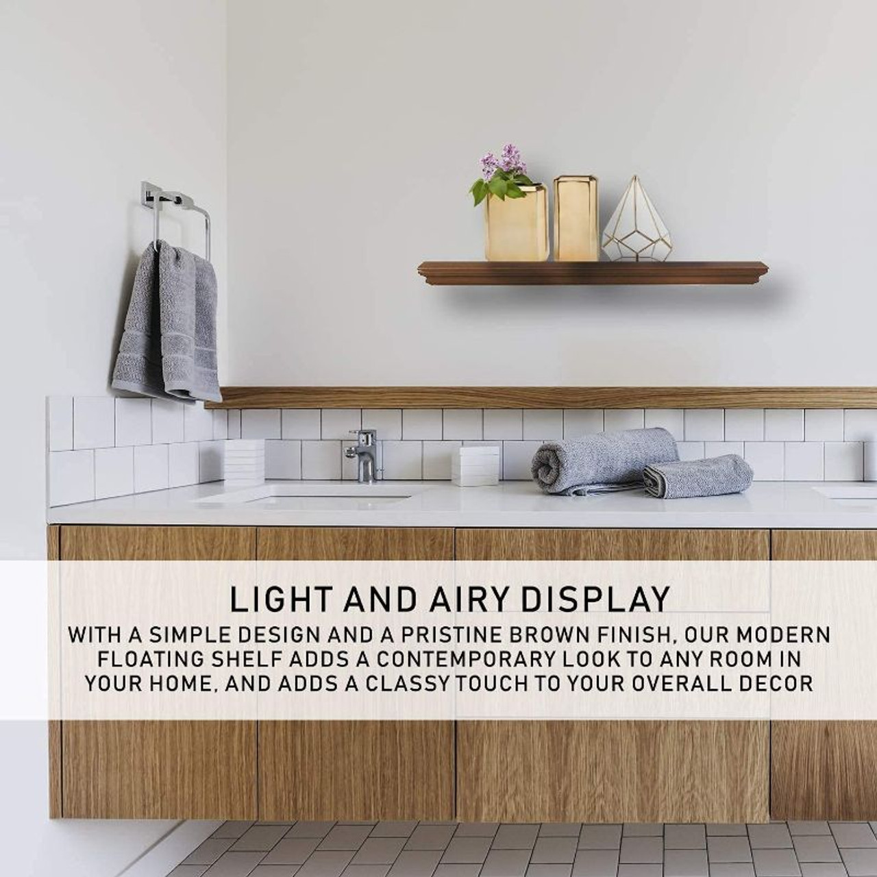 Halter Floating Wood Wall Shelf - Brown or White