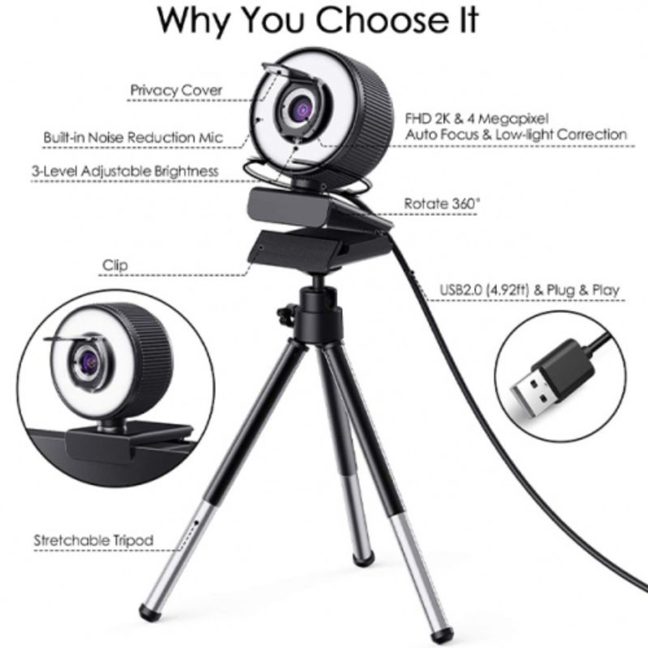 2K HD Webcam with Built-In 18 LED Adjustable Ring Light and Microphone